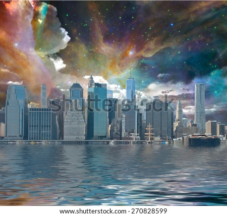 New York City Fantasy Landscape - stock photo