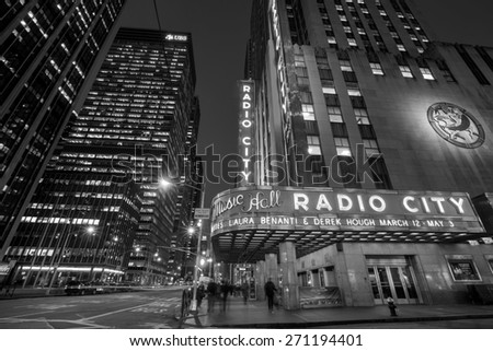 NEW YORK CITY - FEB 11: Radio City Music Hall at Rockefeller Center February 11, 2015 in New York, NY. Completed in 1932, the famous music hall was declared a city landmark in 1978. - stock photo