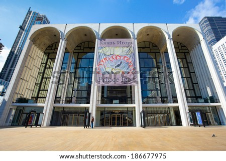 NEW YORK CITY -  FEB. 10, 2014: The Metropolitan Opera House in New York City at Lincoln Center. - stock photo