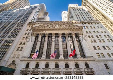 NEW YORK CITY - FEB 11: The New york Stock Exchange on February 11, 2015 in New York. It is the largest exchange in the world by market capitalization.  - stock photo
