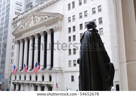 NEW YORK CITY - FEB 3: Washington Statue and New York Stock Exchange in Wall Street during United States economy recovery, February 3, 2010 in Manhattan, New York City. - stock photo