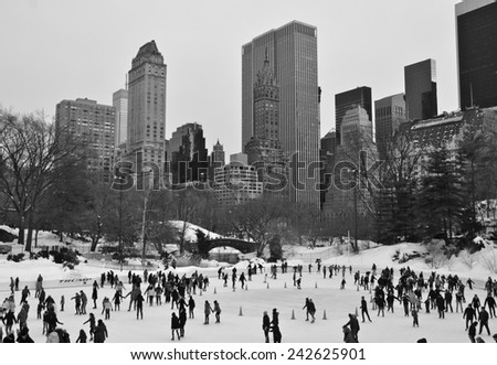 New York City - February 16, 2014: Ice-skating people in Central Park on February 16, 2014 in Manhattan, New York City, USA. - stock photo