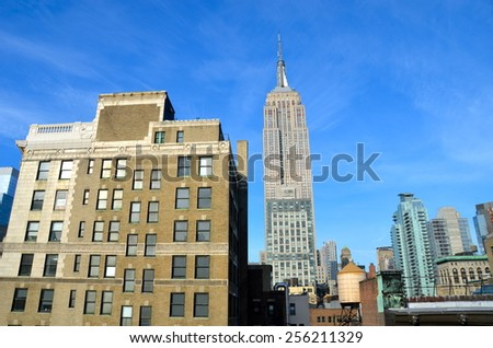 New York City - February 25, 2015: New York City Manhattan midtown view with Empire State Building, New York City, USA. - stock photo