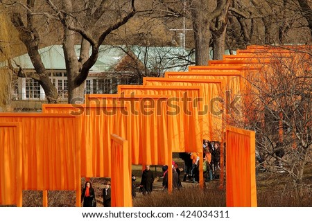 New York City - February 25, 2005:  Orange fabric panels hang from Christo's public art installation The Gates in Central Park