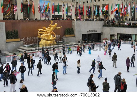 NEW YORK CITY - FEBRUARY 19: People enjoying Rockefeller Center Ice Skating Rink during the cold on February 19, 2010 in New York, New York. - stock photo