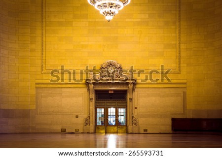 NEW YORK CITY - FEBRUARY 21,  2015:  View inside historic Vanderbilt Hall at Grand Central Terminal in Manhattan. - stock photo