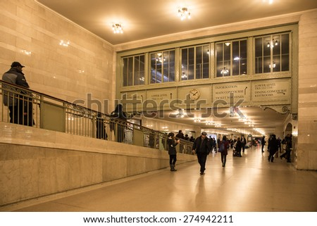 NEW YORK CITY - FEBRUARY 21,  2015:  View of marble corridor to the Main Concourse in historic Grand Central Terminal in midtown Manhattan.  - stock photo