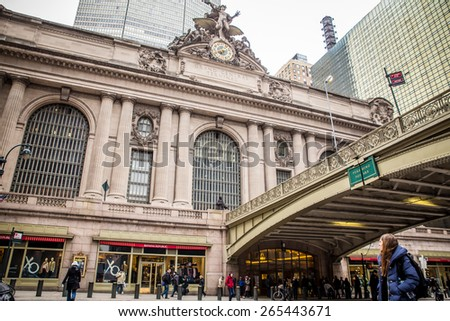 NEW YORK CITY - FEBRUARY 21, 2015:  View outside historic Grand Central Terminal at Pershing Square in midtown Manhattan.  - stock photo