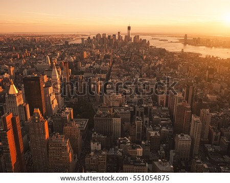 New York City from helicopter at sunset