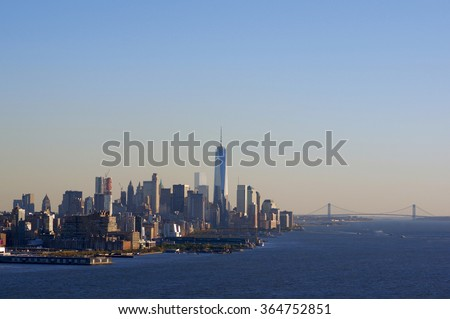 New York City from West New York, NJ. There are Liberty Towers and Verrazano Bridge in the photo. - stock photo