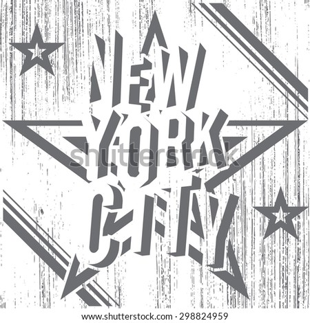 New York City grunge typography poster, t-shirt Printing design,  Badge Applique Label, raster. - stock photo