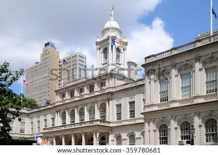 New York City Hall - A close-up view of New York City Hall, Lower Manhattan. - stock photo