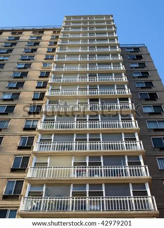 New York City highrise Apartment Building - stock photo