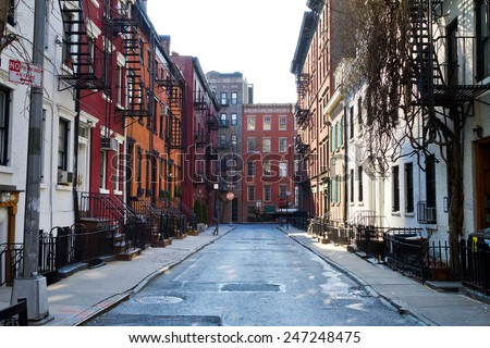 New York City - Historic buildings on Gay Street in Manhattan - stock photo