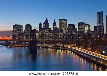 New York City. Image of Manhattan and busy highway leading in to the city. - stock photo