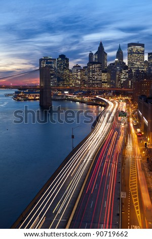 New York City. Image of Manhattan and busy highway leading to the city. - stock photo