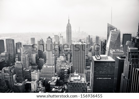 New York city in black and white. Aerial view