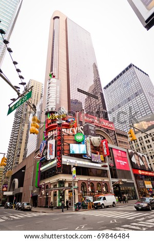 NEW YORK CITY - JAN 6: Crown Plaza Hotel on Times Square in morning, January 6, 2011 in Manhattan, New York City.