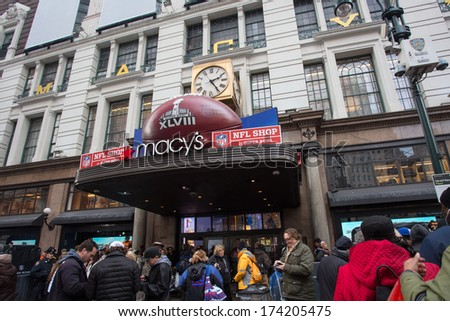 NEW YORK CITY - JAN. 31, 2014:  Macy's Herald Square on Broadway takes part in Super Bowl excitement.  To celebrate Super Bowl XLVIII Broadway in Manhattan is transformed to Super Bowl Boulevard.