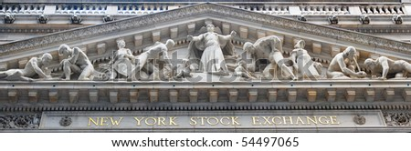 NEW YORK CITY - JAN 1: New York Stock Exchange in Manhattan Wall Street Finance district during United States economy recovery, January 1, 2010 in Manhattan, New York City. - stock photo