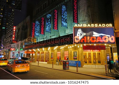 NEW YORK CITY -26 JAN 2018- Night view of the Ambassador Theater showing Chicago the musical in Broadway, Times Square in Manhattan.