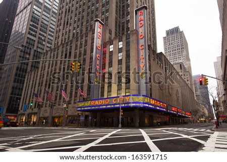 NEW YORK CITY - JAN 12: Street view of Radio City Music Hall in midtown Manhattan on Jan 12 2013. This historic theater in Rockefeller Center opened in 1932. - stock photo