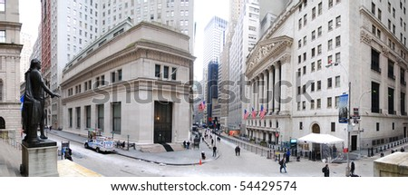 NEW YORK CITY - JAN 1: Wall Street panorama with New York Stock Exchange in Manhattan Finance district during United States economy recovery, January 1, 2010 in Manhattan, New York City. - stock photo