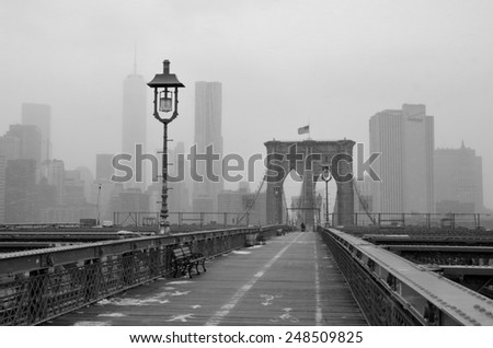 New York City - January 26, 2015: Brooklyn Bridge in the winter, New York City, USA.  - stock photo