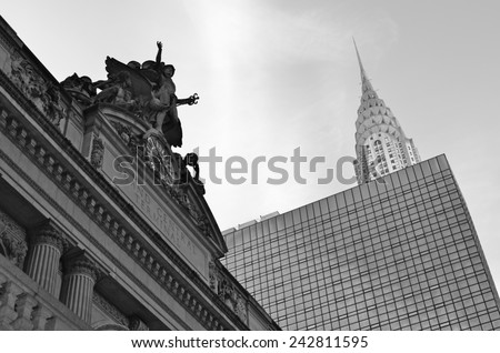 New York City - January 8, 2015: Chrysler Building and the Grand Central Terminal, New York City, USA. - stock photo