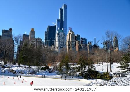 New York City - January 28, 2015: Ice-skating in Central Park on January 28, 2015,  Manhattan, New York City, USA. - stock photo