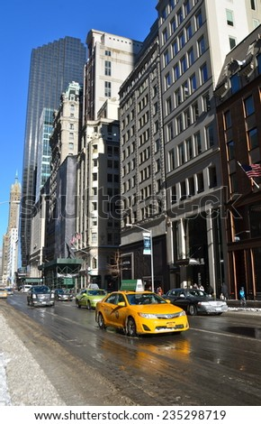 NEW YORK CITY - JANUARY 22, 2014: Manhattan in the winter, New York City, USA. - stock photo