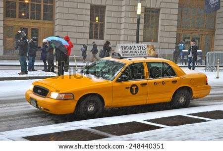 New York City - January 26, 2015: Manhattan in the winter, New York City, USA. - stock photo