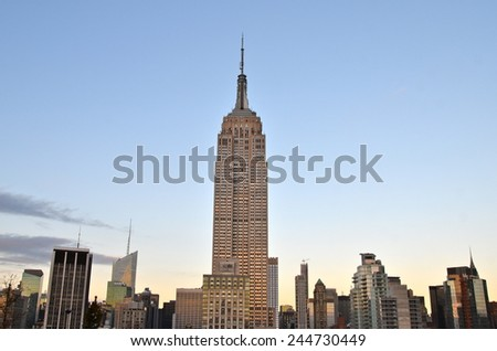 New York City - January 16, 2015: New York City Manhattan midtown view with Empire State Building, New York City, USA. - stock photo