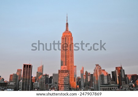 New York City - January 28, 2015: New York City Manhattan midtown view with Empire State Building, New York City, USA. - stock photo