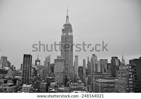 New York City - January 27, 2015: New York City Manhattan midtown view with Empire State Building, New York City, USA. - stock photo
