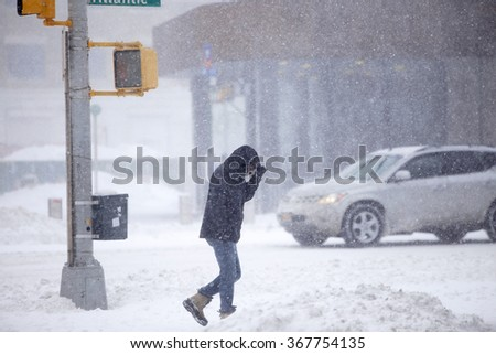 NEW YORK CITY - JANUARY 23 2015: New York City's second-worst blizzard on record buried downtown Brooklyn & the Barclay's Center in gusts & accumulation - stock photo