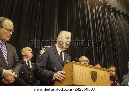 NEW YORK CITY - JANUARY 7 2015: NYPD commissioner Bratton held a press conference to the media on the condition of injured officers, charges against their assailants & preparedness for terror attacks. - stock photo
