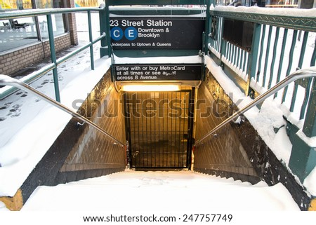 New York City - January 27: Public transportation comes to a halt for the expected blizzard in January 27, 2015. - stock photo