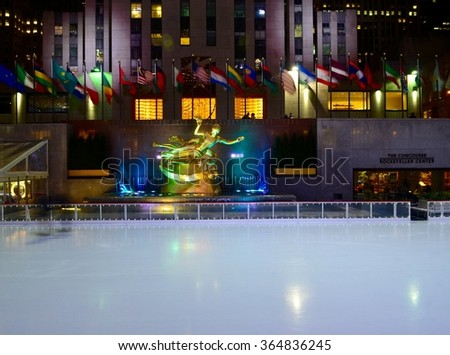 NEW YORK CITY - JANUARY 18, 2016: Rockefeller Center, Manhattan on January 18, 2016, New York City, USA.