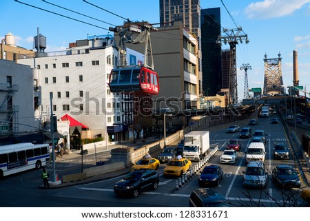 NEW YORK CITY - JANUARY 13: Roosevelt island tram. The part of NYC transport system and connects Manhattan and Roosevelt Island, New York City, January 13, 2013 in Manhattan, New York City. - stock photo