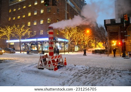 NEW YORK CITY - JANUARY 21, 2014: Snow storm in New York City, USA. - stock photo