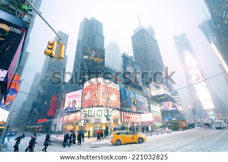 New York City - January 22, 2014: Snow weather in Manhattan Times Square  - stock photo