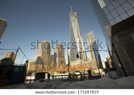 NEW YORK CITY - January 03: The construction of NYC's World Trade Center towers as seen on January 03, 2014.