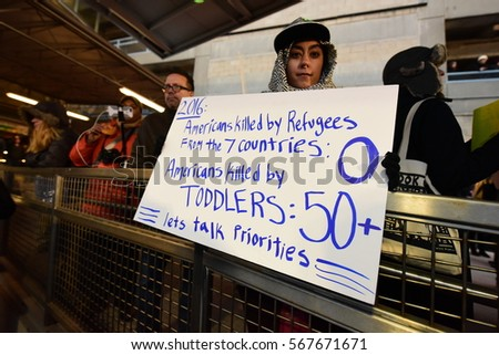 NEW YORK CITY - JANUARY 28 2017: Thousands of activists joined NYC council members to protest the detention of travelers with entry visas at JFK airport
