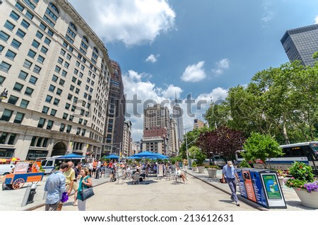 NEW YORK CITY - JUL 22: Broadway on July 22, 2014 in New York. It actually runs 15 mi through Manhattan and the Bronx, exiting north from the city to run an additional 18 mi. - stock photo