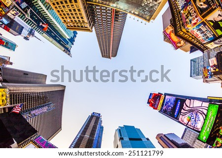 NEW YORK CITY - JUL 8, 2010: Times Square, featured with Broadway Theaters and huge number of LED signs, is a symbol of New York City and the United States in Manhattan, New York City. - stock photo