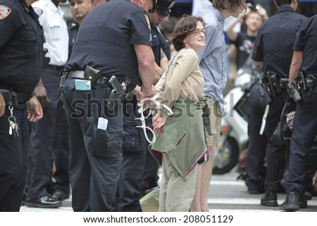 NEW YORK CITY - JULY 29 2014: Activist & author Norman Finkelstein organized a civil disobedience action in front of Israel's permanent UN Mission on 2nd Av, blocking traffic & leading to 24 arrests