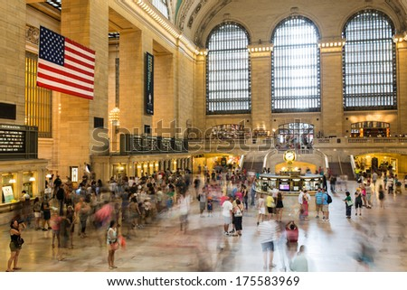 NEW YORK CITY - JULY 20: Daytime traffic on Central train station a symbol of New York City on July 20, 2013 in Manhattan, New York City.   - stock photo