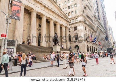 NEW YORK CITY - JULY 10: Facade of Federal Hall on July 10, 2015 in NYC. Federal Hall was the site of George Washington's inauguration as the first President of USA.