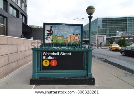 NEW YORK CITY - July 22, 2015: New York City subway station in Downtown Manhattan, New York City, USA. - stock photo